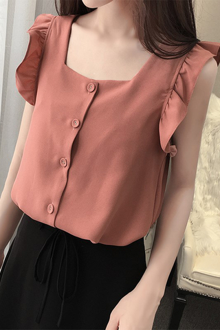 Ruffles Sleeves Button Top