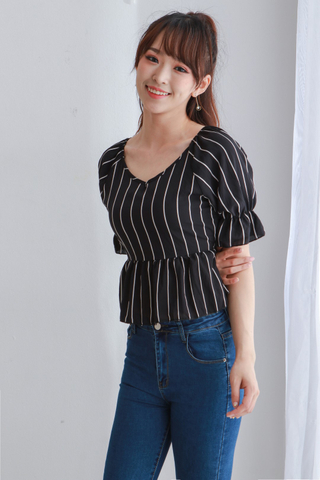 Lantern Sleeve V-Neck Top