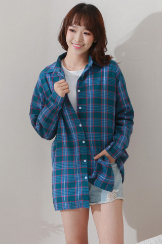 Plaid Sleeve Blouse