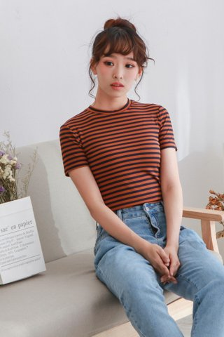 Elastic Knit Stripe Crop Top