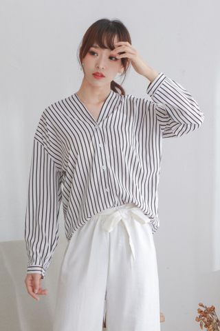 V-Neck Long Stripe Blouse