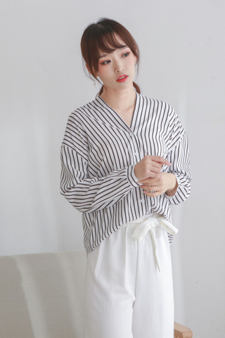 V-Neck Long Stripe Blouse