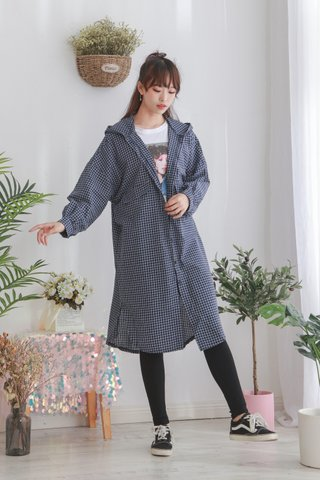 Long Line Plaid Trench