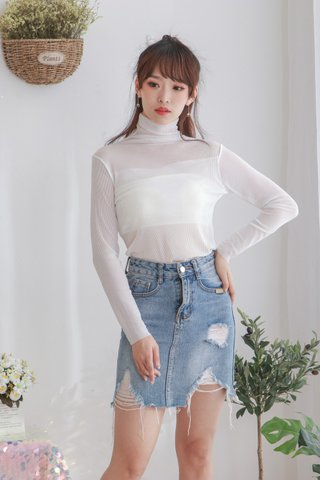 High Neck Long Sleeve Mesh Top