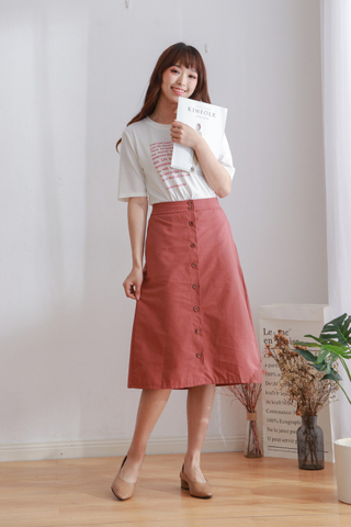 Long Button Skirt
