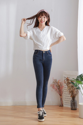 Side Split Straight Denim Pants