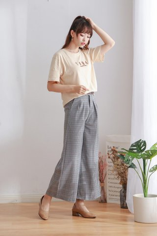 Plaid Hight Waist Crop Pants