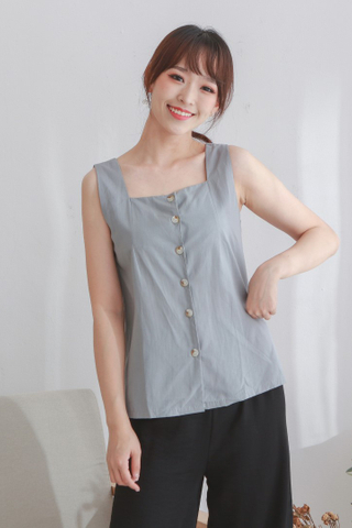 Basic Button Up Vest Grey