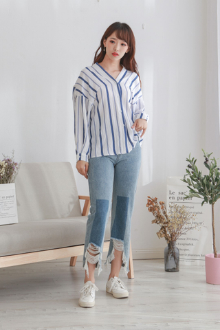 White Blue Stripe Blouse