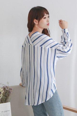White Blue Stripe Blouse