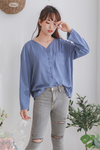 Cotton Pocket Long Sleeve Top
