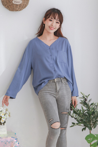 Cotton Pocket Long Sleeve Top