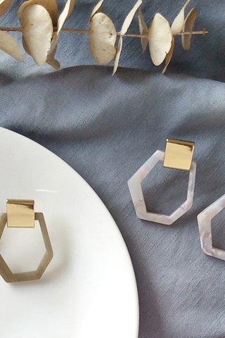 Gold Hexagon Marble Earrings