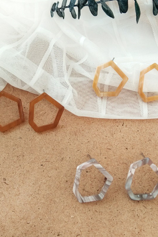 Acetate Hexagon Earrings
