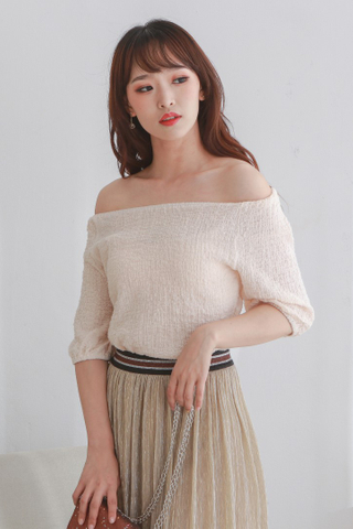 Beige Wrinkle Tube Top