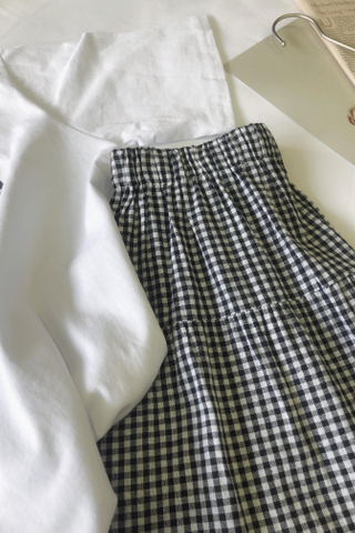 Midi Flare Plaid Skirt