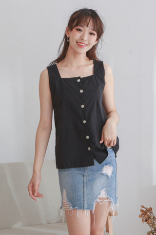 Basic Button Up Vest Black