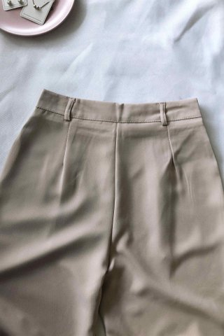 High Waist Beige Trousers
