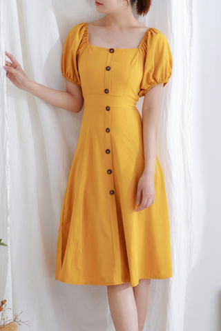 Yellow Button Midi Dress