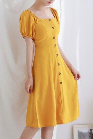 Yellow Button Midi Dress