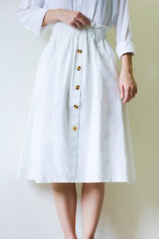 Paper bag midi skirt