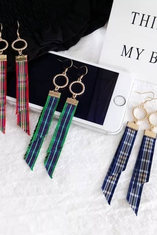 Circle Plaid Earrings