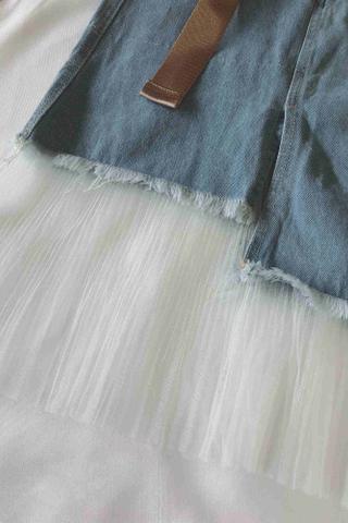 Denim Mesh Mermaid Skirt