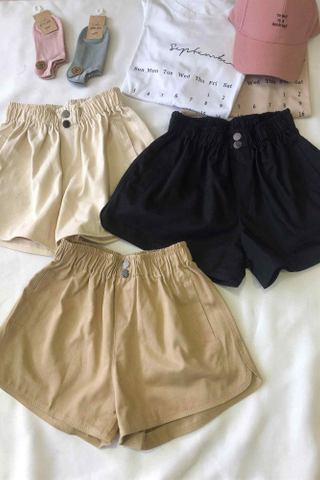High Waisted Button Short