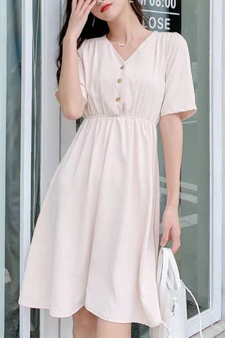 V-neck Button Dress