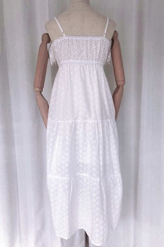 Embroidery Strappy Maxi Dress
