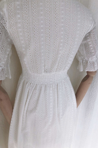 Crossover Lace Button Dress