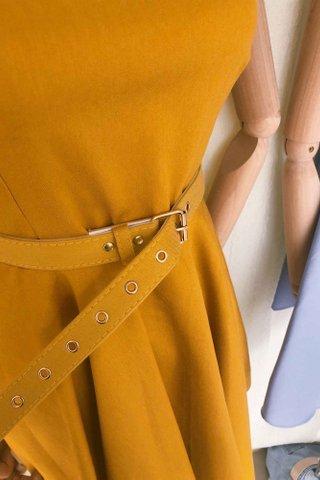 Belted Sleeveless Flare Dress