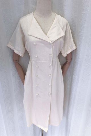 Beige Lapel Collar Button Dress
