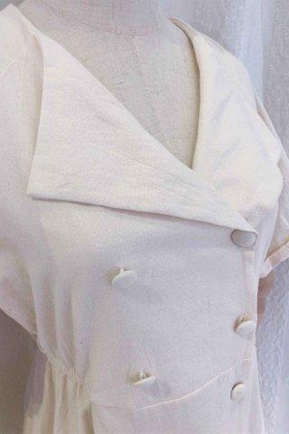 Beige Lapel Collar Button Dress